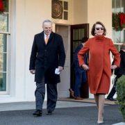 La deputata americana Nancy Pelosi indossa un cappotto di Max Mara all'incontro con Donald Trump