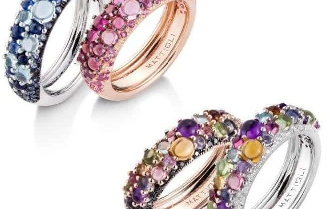 Mattioli Collezione Candy, fedine in oro bianco e rosa, diamanti bianchi e gemme preziose colorate