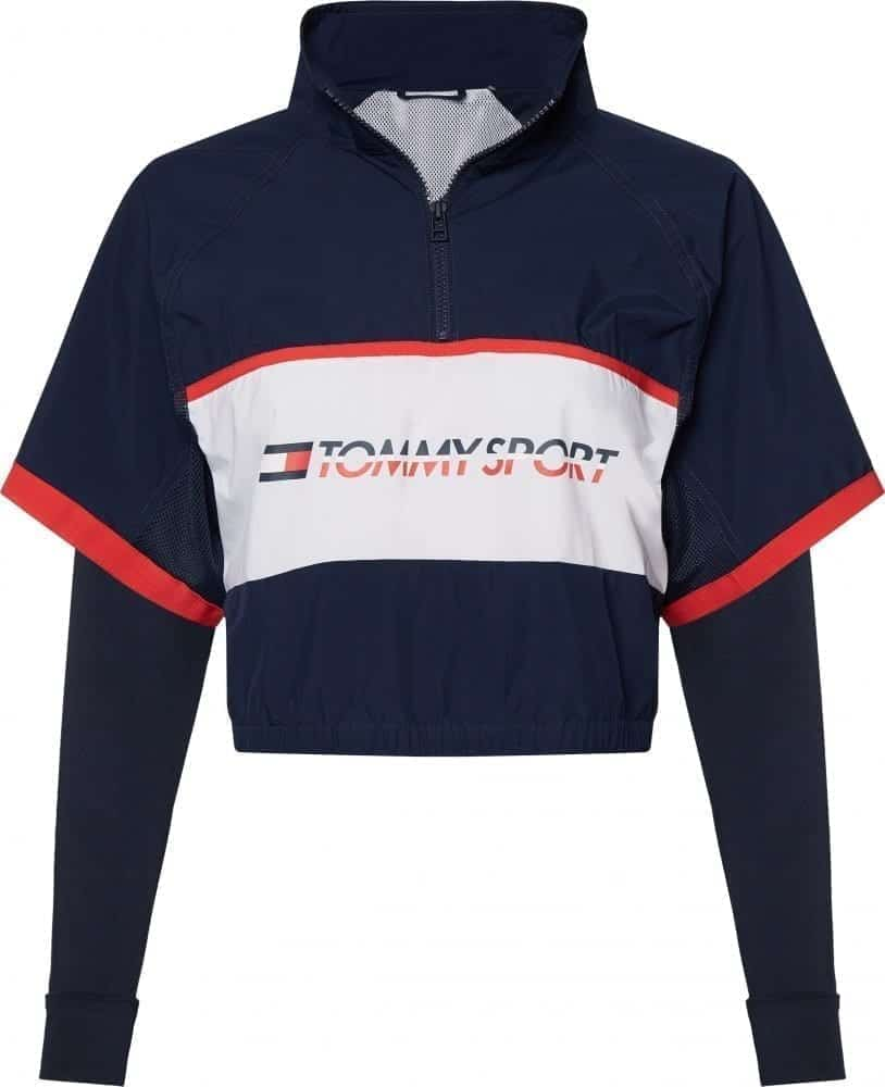 Tommy hilfiger top sport donna autunno 2019 NAVY WHITE 1_2 ZIP SHELL WITH LOGO