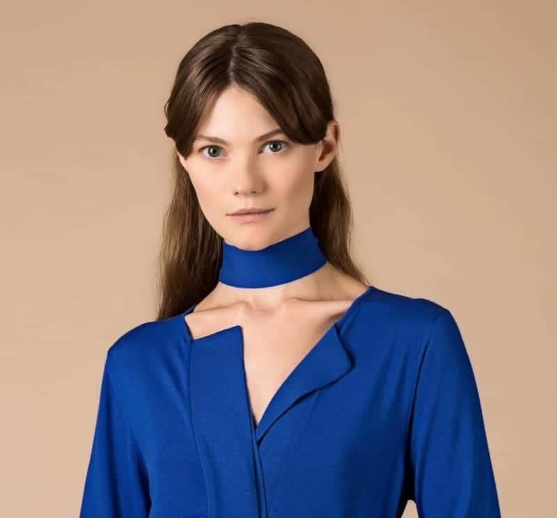 MALO collezione donna PE2020 Abito con spacchi laterali e cintura in merino