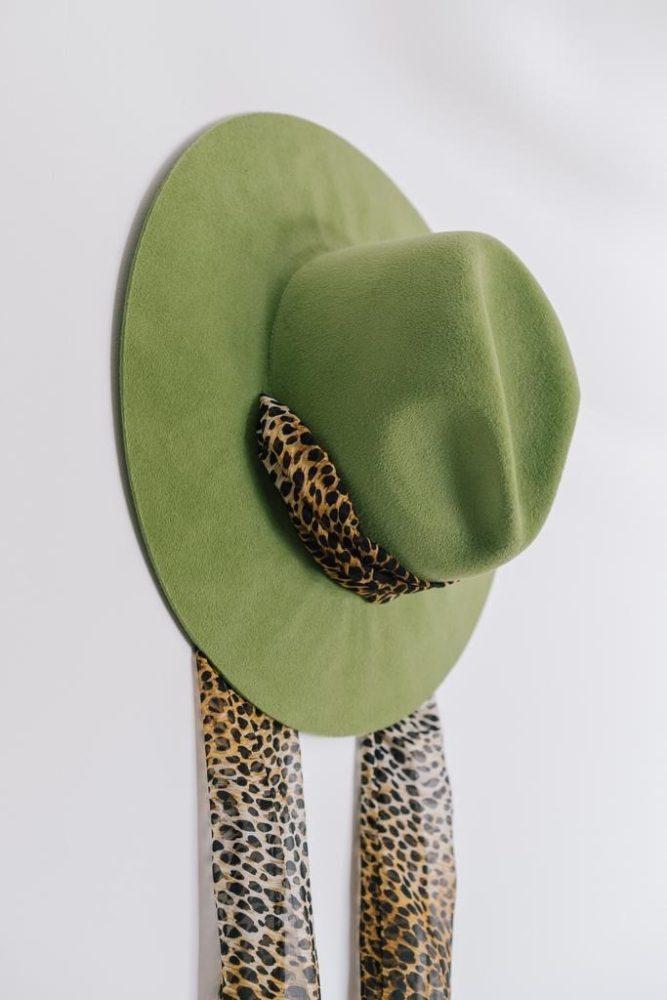 Cappello Montegallo Fedora animalier verde