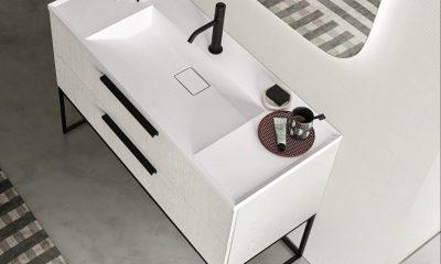 La nuova consolle e piano top con lavabo integrato YPSILON di Arbi Arredobagno
