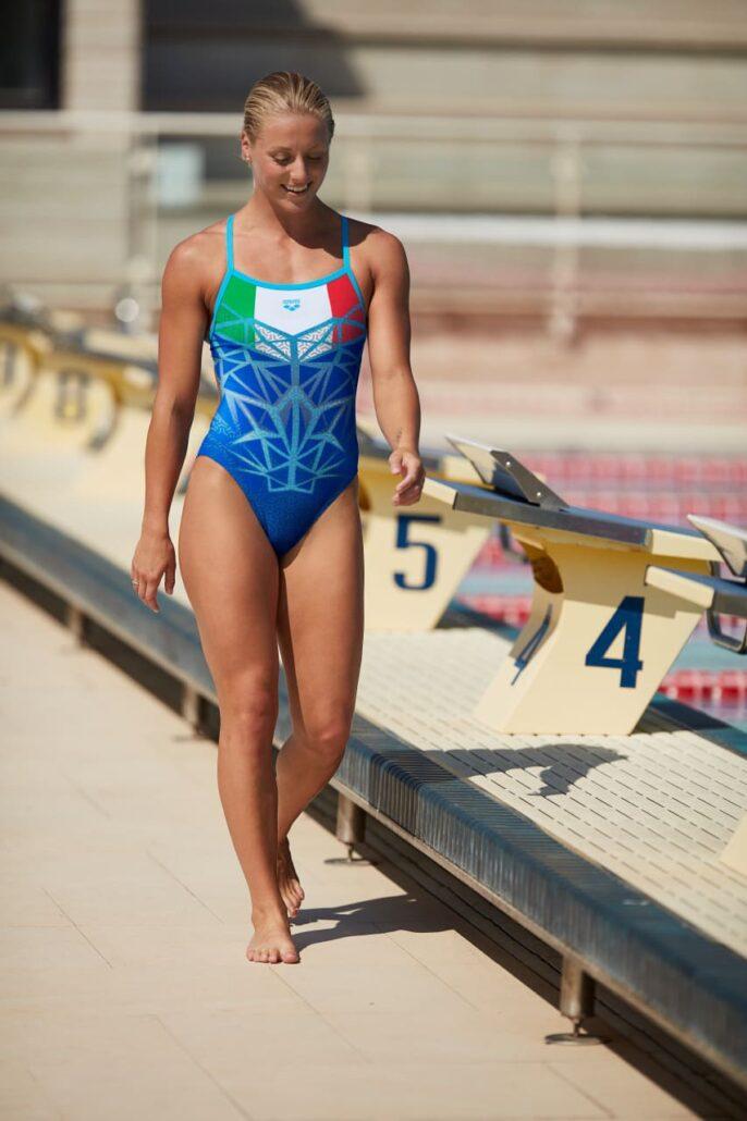 Margherita Panziera – campionessa europea 200m dorso - indossa Bishamon, costume della gamma Take Down Italia.