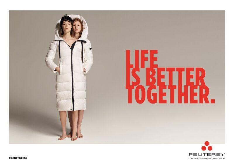 Life is better togheter nuova campagna adv firmata da Armando Testa per la collezione AI 2021-22 di Peuterey