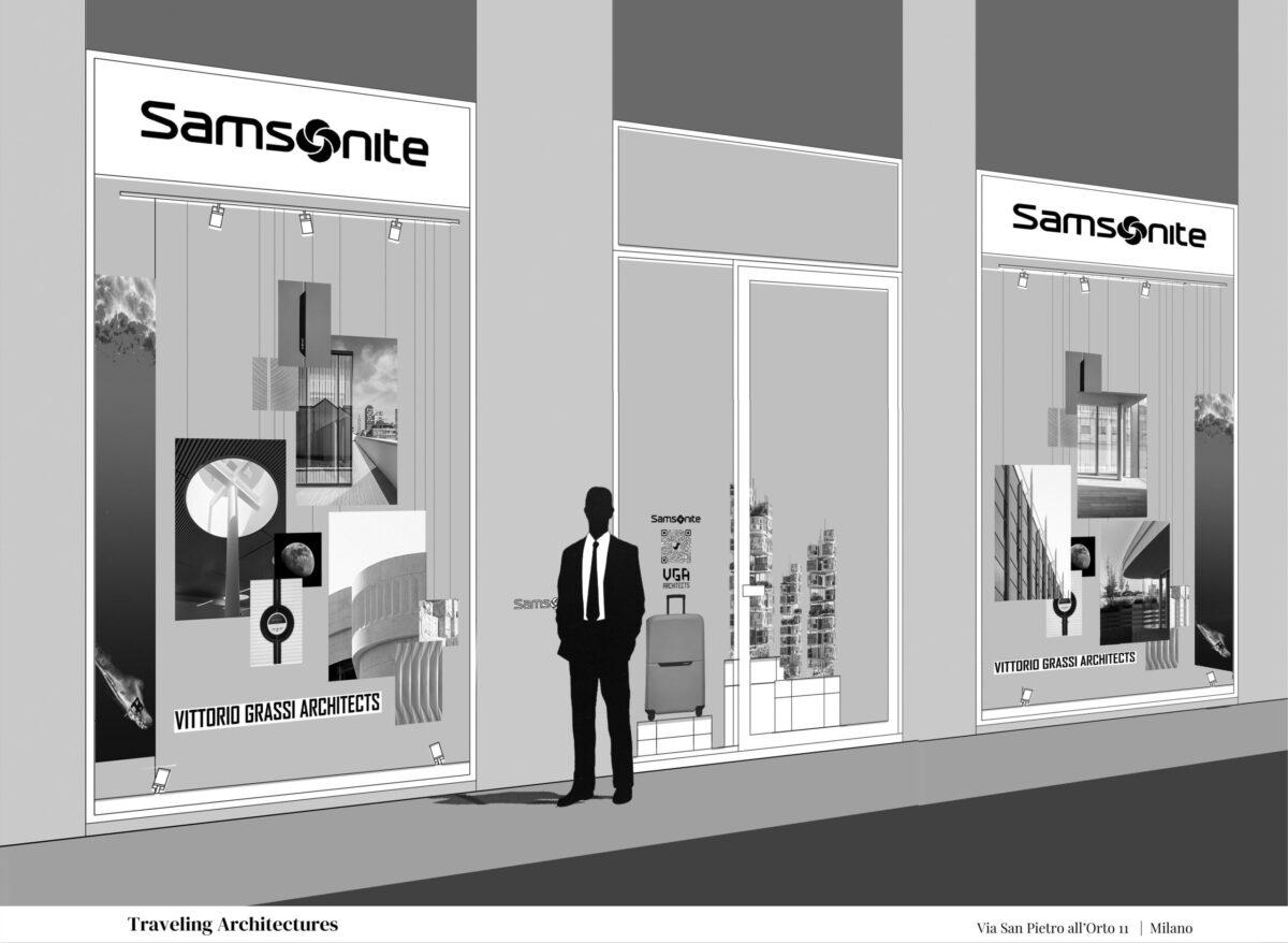 Milano Fashion Week installazione di Vittorio Grassi Architects nel negozio Samsonite di Milano