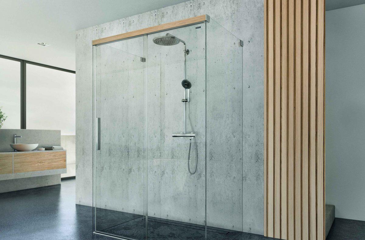 Viva, la doccia con le finiture in legno di Duscholux